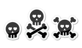 Cartoon skull with bones and hearts  icon set Stock Images