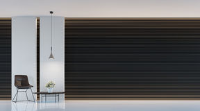Modern black and white living room interior 3d rendering image. A blank wall with pure white. Decorate  wall with extrude horizon line pattern and hidden warm Stock Photo