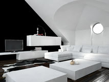 Modern black and white loft living room interior Royalty Free Stock Photo