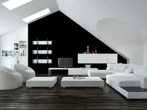 Modern black and white loft living room interior Stock Photos