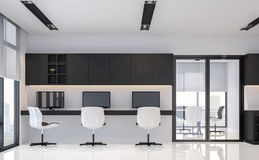 Modern black and white office interior minimal style 3d rendering image Royalty Free Stock Images