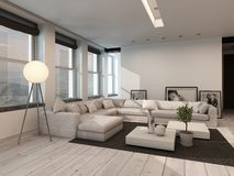 Modern black and white sitting room interior. With painted white floorboards with a black carpet, a corner lounge suite, row of windows and modern freestanding Royalty Free Stock Images