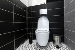 Modern black and white toilet Royalty Free Stock Images