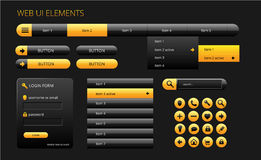 Modern black and yellow web ui elements Stock Images