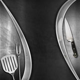 Modern Blackboard with Kitchen Utensils Stock Photography