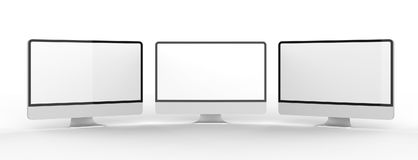 Modern blank monitor screen  on white background. 3D ill Royalty Free Stock Images