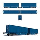 Modern blauw tweelingcontainervervoer Stock Fotografie