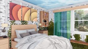 Modern blend with nature bedroom interior design. Modern comfortable blend in with nature bedroom interior design with double bed and walls covered by green stock illustration