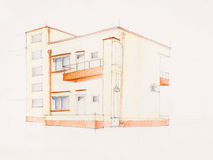 Modern block of flats. Architectural perspective of modern house, hand drawn Stock Images