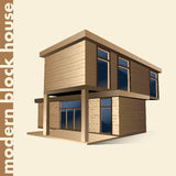 Modern block house in color Stock Images