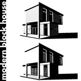Modern block house Royalty Free Stock Images