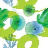 Modern bloemen naadloos patroon in waterverftechniek royalty-vrije illustratie