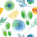 Modern bloemen naadloos patroon in waterverftechniek Royalty-vrije Stock Afbeelding
