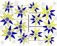 Modern blom- petalled abstrakt design på vitbakgrund Arkivbild