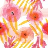 Modern blom- sömlös modell i vattenfärgteknik Royaltyfri Fotografi