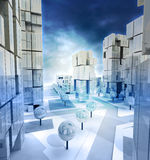 Modern blue alighted city streets with cloudy sky Stock Images