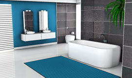 Modern Blue Bathroom. Modern bathroom interior with contemporary black and blue design and white floor, 3d rendering Stock Photos