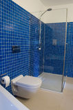 Modern Blue Bathroom. Modern bathroom with blue tiles, stylish shower, toilet and bathtub Royalty Free Stock Photo
