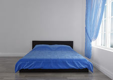 Modern blue bed in the room near the empty wall. mockup. 3d render. Ing Royalty Free Stock Photos