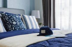 Modern blue bedroom design Royalty Free Stock Photos