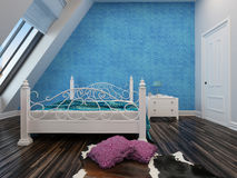 Modern blue bedroom with a wrought iron bed Royalty Free Stock Images