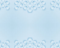 Modern blue border frame with hexagons Stock Images