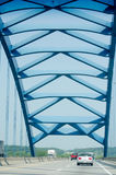 Modern blue bridge Royalty Free Stock Image