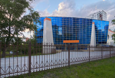 Modern blue building in Moscow Royalty Free Stock Photography