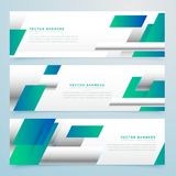 Modern blue business banners set with abstract shapes Royalty Free Stock Photos