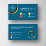 Modern blue business card template with flat user interface Royalty Free Stock Image
