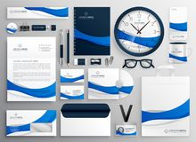 Modern blue business collateral stationery set. Vector vector illustration