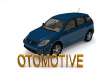 Modern blue car. With word, otomotive in three dimensional letters, isolated on white background Stock Images