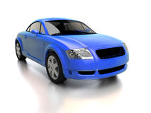 Modern blue car front view. Realistic 3d illustration of a compact city car on white background with reflection. For other color and views of this car please Stock Image