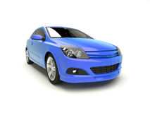 Modern blue car front view. Realistic 3d illustration of a compact car on white background Stock Photography