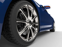 Modern blue car - low angle power shot Royalty Free Stock Photography