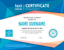 Modern blue certificate background design template. Modern certificate with blue polygonal background design template Royalty Free Illustration