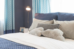 Modern blue color tone bedroom interior design Stock Image