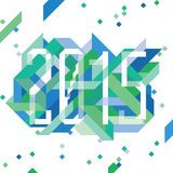 Modern Blue composition with 2015. Dynamic pattern in blue and green for 2015 royalty free illustration