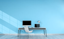 Modern blue desktop interior with devices 3D rendering Royalty Free Stock Photos