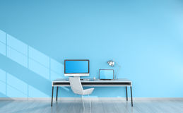 Modern blue desktop interior with devices 3D rendering Stock Images