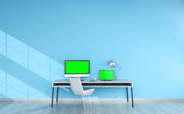 Modern blue desktop interior with devices 3D rendering Stock Photos
