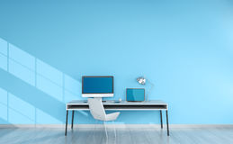 Modern blue desktop interior with devices 3D rendering Stock Image