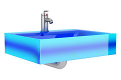 Modern blue glass bathroom sink isolated on white Stock Images