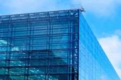 Modern blue glass business center Stock Photo