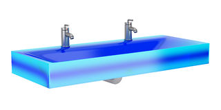 Modern blue glass double bathroom sink isolated on white Stock Photography