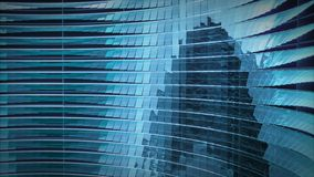 Modern blue glass metal structure with sine wave windows rotation. 3d render. Modern blue glass metal structure with sine wave windows rotation. 3d Illustration Royalty Free Stock Images