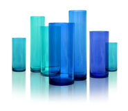 Modern blue glass vases Stock Images