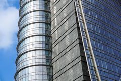 Modern blue glass wall of office building.  Stock Image