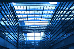 Modern blue glass wall of office building. Image of windows in morden office building Stock Photo