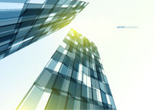 Modern blue glass wall of office building Stock Images